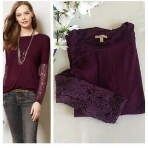 Anthropologie Bordeaux purple lace long sleeve - M